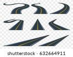 set of curved asphalt road in... | Shutterstock .eps vector #632664911
