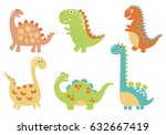 Cute Vector Dinosaurs Isolated...