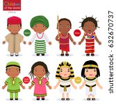 kids in different traditional... | Shutterstock .eps vector #632670737