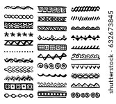 hand drawn vector dividers. set ... | Shutterstock .eps vector #632673845