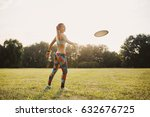 young athletic girl playing... | Shutterstock . vector #632676725