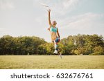young athletic girl playing... | Shutterstock . vector #632676761