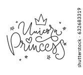 unicorn princess vector poster... | Shutterstock .eps vector #632683319