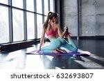 yoga mat woman stretching hip ... | Shutterstock . vector #632693807