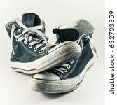 old and worn pair of sneakers... | Shutterstock . vector #632703359