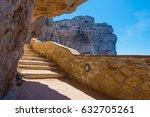 Small photo of The stairway leading to the Neptune's Grotto, in Capo Caccia cliffs, near Alghero, in Sardinia, Italy