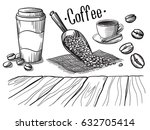 Set Of Cup And Coffee Beans And ...