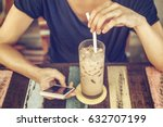 girl in cafe with mobile phone...   Shutterstock . vector #632707199