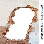 hole brick wall | Shutterstock . vector #632710625