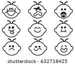 cute baby face icons | Shutterstock .eps vector #632718425