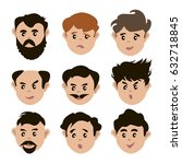 set of faces people | Shutterstock .eps vector #632718845