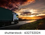 truck transportation at sunset | Shutterstock . vector #632732024