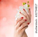 woman hand holding flowers. | Shutterstock . vector #632734817