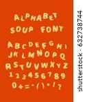 alphabet soup font  latin... | Shutterstock .eps vector #632738744