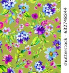 seamless ditsy floral pattern.  | Shutterstock . vector #632748344