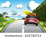 car summer trip to the sea... | Shutterstock .eps vector #632750711