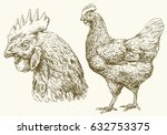 chicken  hen  hand drawn... | Shutterstock .eps vector #632753375
