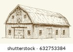 old barn. hand drawn... | Shutterstock .eps vector #632753384