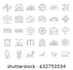 big line icons set for camping...   Shutterstock .eps vector #632753534