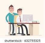 teamwork  two employees make... | Shutterstock .eps vector #632755325