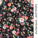 trendy seamless floral pattern... | Shutterstock .eps vector #632755391