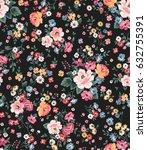 trendy seamless floral pattern... | Shutterstock .eps vector #632755391