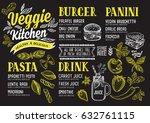vegan food menu for restaurant... | Shutterstock .eps vector #632761115