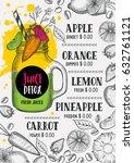 juice menu for restaurant and... | Shutterstock .eps vector #632761121