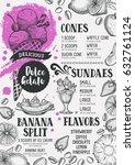 ice cream menu for restaurant... | Shutterstock .eps vector #632761124