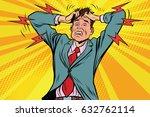businessman panic head hand ... | Shutterstock .eps vector #632762114