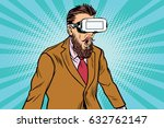 shocked hipsters in vr glasses. ... | Shutterstock .eps vector #632762147