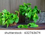 green fresh mint on the wooden... | Shutterstock . vector #632763674