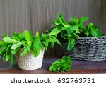 green fresh mint on the wooden... | Shutterstock . vector #632763731
