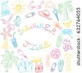 summer time. hand drawn summer... | Shutterstock .eps vector #632764055