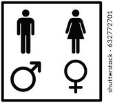 restroom sign male and female | Shutterstock .eps vector #632772701