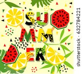 summer banner with watermelon... | Shutterstock .eps vector #632784221