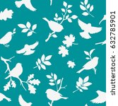 seamless pattern with bird and... | Shutterstock .eps vector #632785901