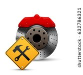 auto brake disc and service... | Shutterstock .eps vector #632786321