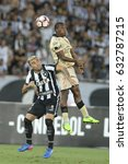 Small photo of Rio, Brazil - may 02, 2017: Tito Valencia and Victor Luis player in match between Botafogo (BRA) and Barcelona (ECU) by the Libertadores championship in Nilton Santos Stadium
