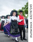 Small photo of BRISACH - France - 1 May 2017 - traditional alsatian dancers at the lily of the valley party