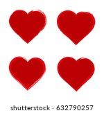set of grunge hearts.vector... | Shutterstock .eps vector #632790257