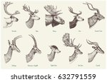 big set of horn  antlers... | Shutterstock .eps vector #632791559