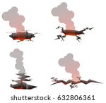 ground hole with fire and smoke ... | Shutterstock .eps vector #632806361