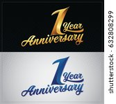 one year anniversary... | Shutterstock .eps vector #632808299