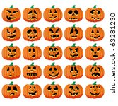 set of 25 halloween pumpkins... | Shutterstock .eps vector #63281230
