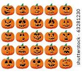 set of 25 halloween pumpkins... | Shutterstock .eps vector #63281230