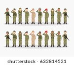 group of army  men and woman ... | Shutterstock .eps vector #632814521