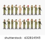 group of army  men and woman ... | Shutterstock .eps vector #632814545