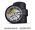 wheels with alloy rims    3d... | Shutterstock . vector #63281491