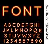 neon alphabet. glowing font.... | Shutterstock .eps vector #632817749